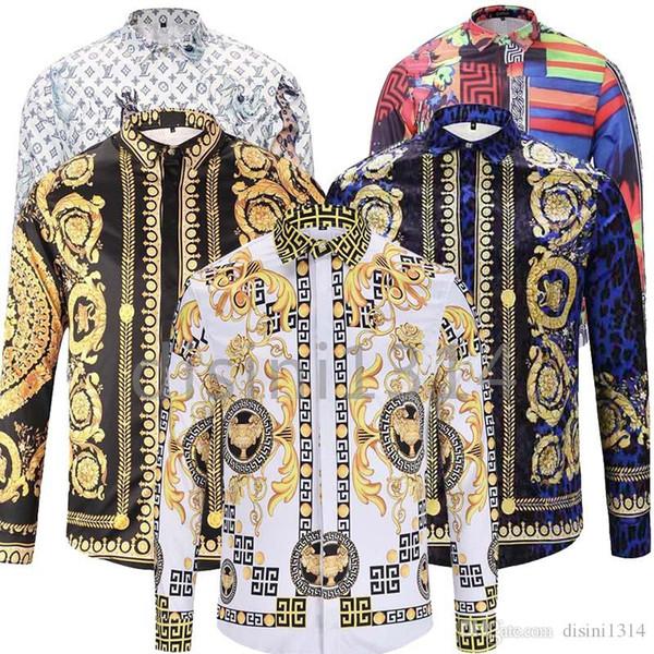 Camisas de vestir de los hombres a estrenar de moda Harajuku ocasional de la camisa de los hombres de lujo de la medusa Negro de lujo del oro 3D de impresión del ajustado Camisas