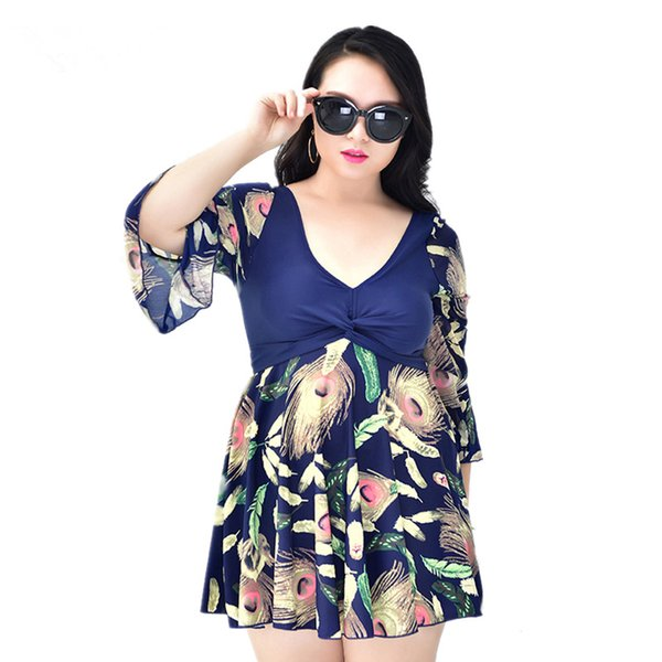 Plus Size Maillot De Bain Half Sleeve Modest Dress Swimming Suit Swimwear One Piece Swimsuit Bathing Suits for Women