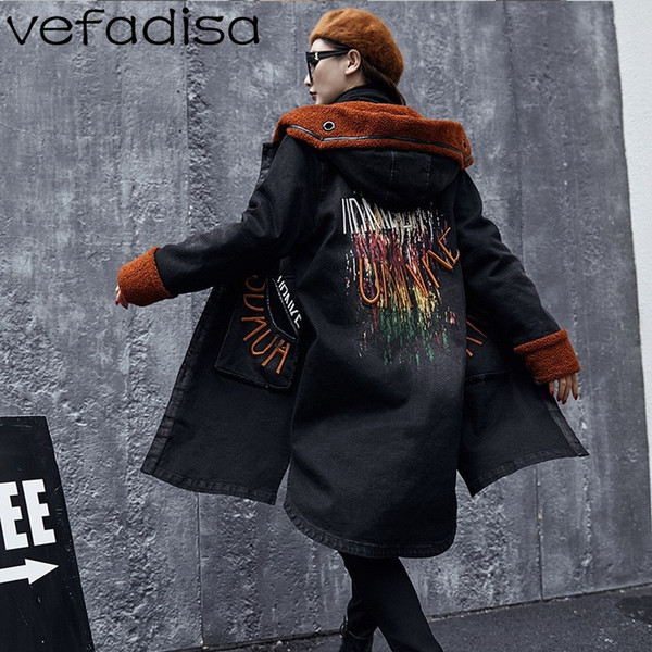 Vefadisa Winter Brief Stickerei Mit Kapuze Trenchcoat Frau Beflockung Windjacke Einreiher Muster Lange Warme Mantel ZLD235