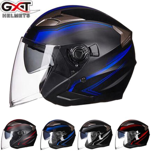 2019 new gxt g-708 double visor electric motorbike bicycle scooter safety helmet men/women half face motorcycle helmets