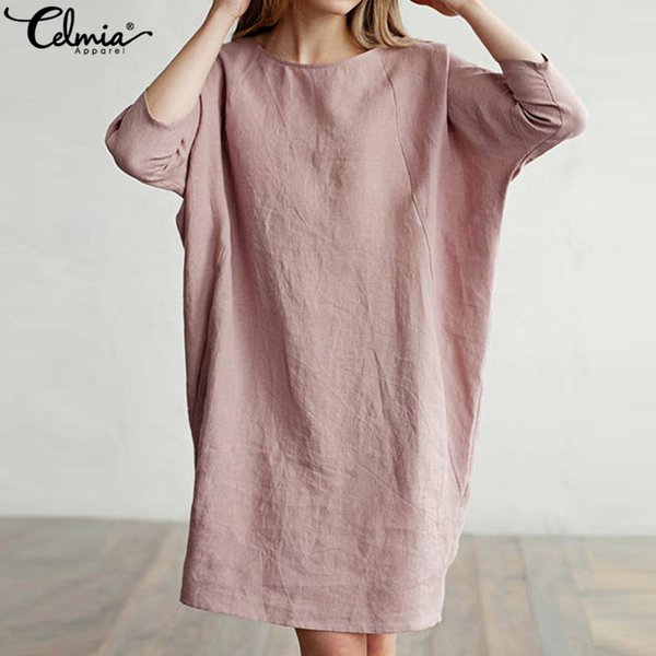 Celmia Женщины Длинных рубашки хлопок белье платье 3/4 рукава Кармана винтажных платьев женского Повседневный сыпучий твердый Мини Vestidos Plus Size