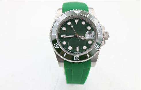 2017 Hot sell Top sale Mens watch high quality automatic Rubber Green watches for men wristwatch ceramic bezel sapphire glass Original clasp