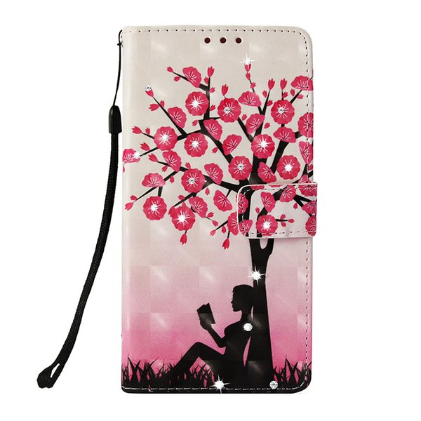 Flip cover stand PU leather case for iPhone 8 8P Painted 3D Plum girl Point drill with Credit card slot wallet shockproof cell phone cases