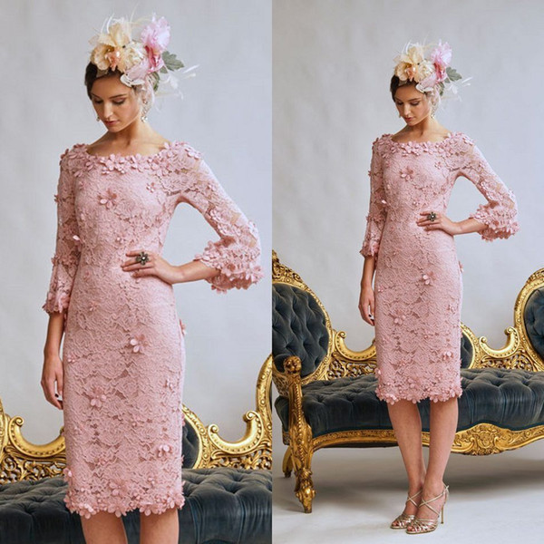 2019 Pink Wedding Mother Of The Bride Dresses Jewel Neck Lace 3D Floral Appliqued Evening Gowns Custom Made Plus Size Wedding Guest Dress