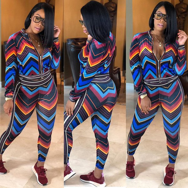 New Contrast Color Sports Stripe Two Pieces Sets of European and American Sexy Women's Wear Outdoor Suit Running Tracksuits