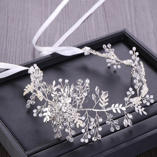 36.5*5cm Bridal Wedding Bride Lady Girl's Pearl Crystal Flower Ribbon Tiaras Headbands Hairband Hair Accessories Handmade Prom Jewelry Party
