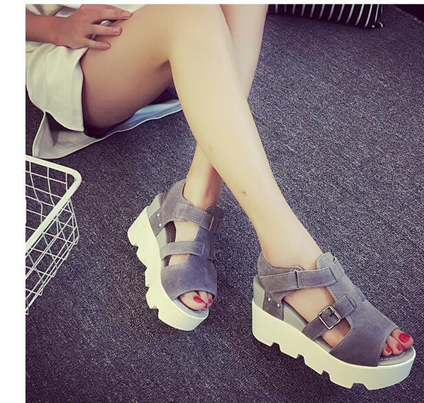 Summer 2019 Han edition new fashion sandals women sandals Waterproof Taiwan wedges platform buckles shoes free shipping