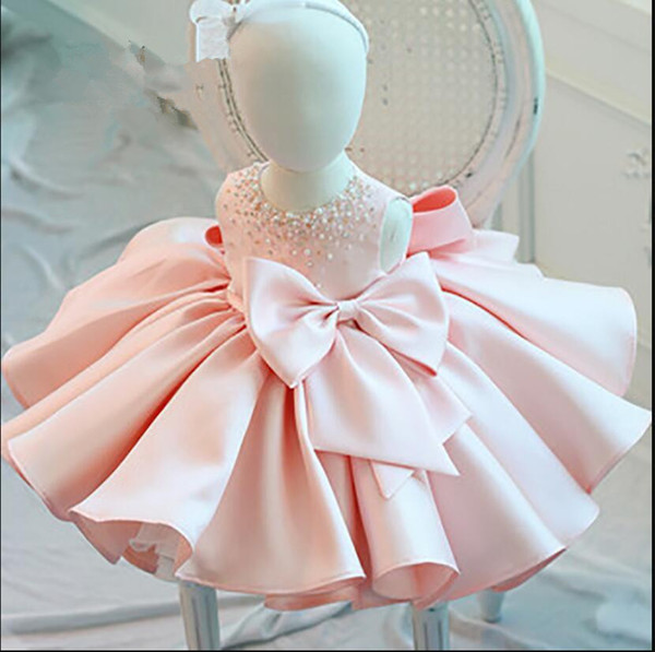 New Fashion Beaded Bow Baby Girl Dress Princess Fluffy Tulle Infant Clothes Baby Girls Baptism Christening 1st Birthday Gown J190506