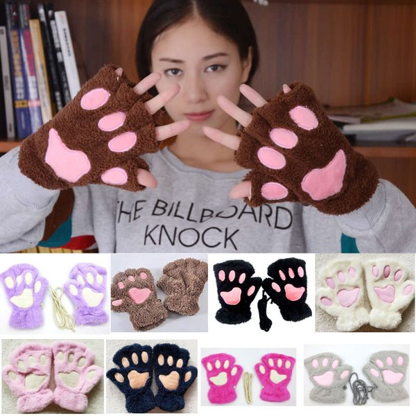 Women Cat Dog Plush Paw Gloves Halloween Christmas Cosplay Soft Winter Mittens Gloves 16 Colors Party Supplies WX9-1540