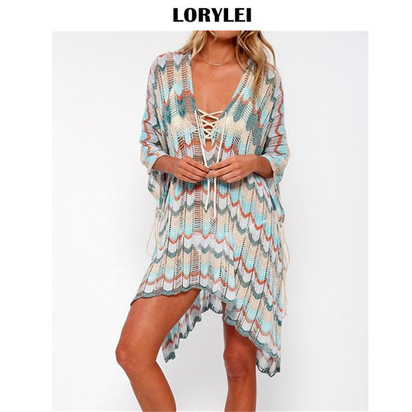 2019 lace up striped loose summer beach dress crochet tunic women beachwear cover-ups swimsuit cover up sarong plage n853