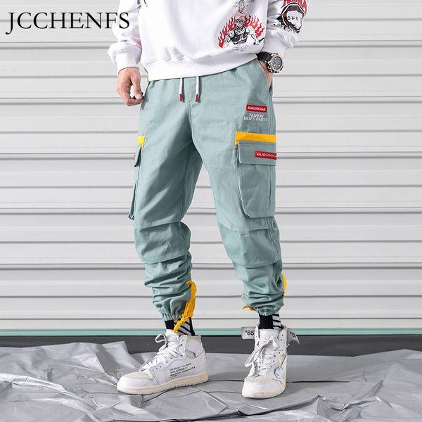 JCCHENFS Çok Cep Erkek Kargo Pantolon Boy Gevşek Rahat Pantolon Patchwork Ayak Ağız Marka Streetwear Sweatpants 5XL Küçültmek