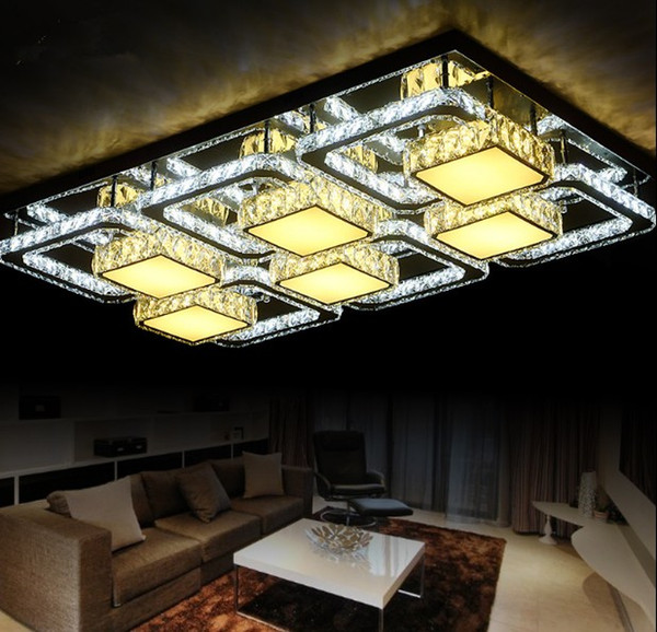 New Square Lamp Stainless Steel Crystal LED Roof Suction Lamp Simple Modern Living Room, Bedroom, Restaurant, Hotel Lamps LLFA