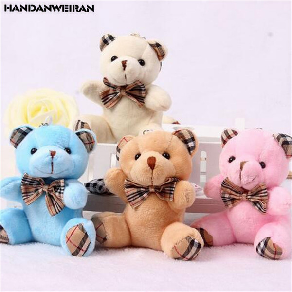 1PCS Plaid Bow Tie Plush Sitting Bear Toys Small Pendant Cartoon Bouquet Doll Wedding Activity Gift Soft Stuffed Toy Hot New 9CM