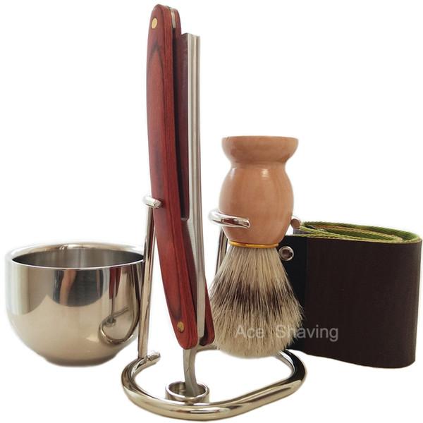 Barber Shop Straight Razor Shaving Set Stand Metal Bowl Cup Mug Boar Bristle Hair Brush Face Beard Grooming Tool