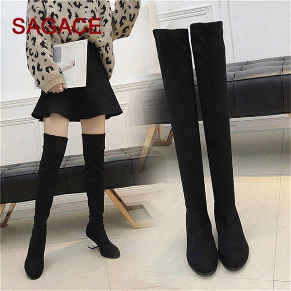 HB@SAGACE Boots Women Slip-On Round Toe High Boots Fashion Shoes Over The Knee High Heels Party Shoes