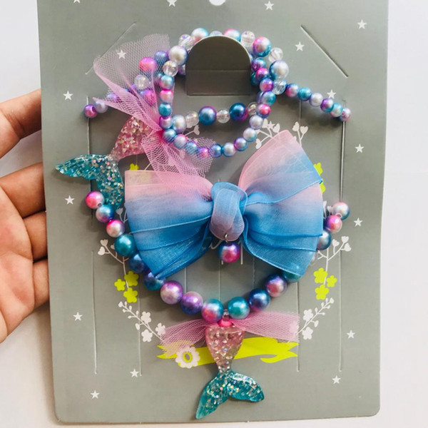 Çocuk Denizkızı Boncuk Takı Seti Moda Kolye GradualColor Mermaid Kolye Bilezik Firkete Takım Noel Hediyesi 3 adet / takım RRA2030