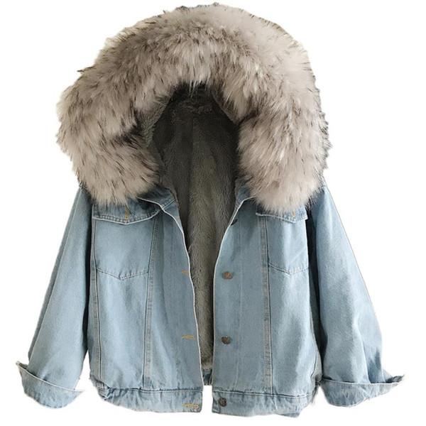 Plus Size 2XL Autunno Inverno di spessore Agnello di lana Giacca di jeans di base Donne Cappotto allentato Cotone caldo di velluto Jeans Capispalla