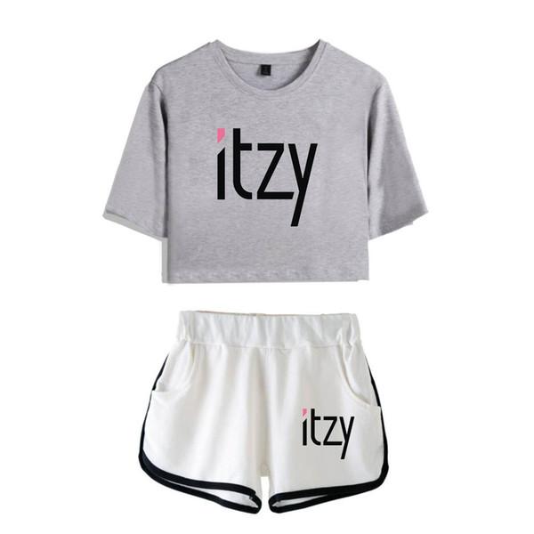 Ídolo Itzy Imprimir Kpop Mujeres Dos piezas Moda Harajuku Personalidad de verano 2019 nuevo álbum de camisetas y pantalones cortos conjuntos
