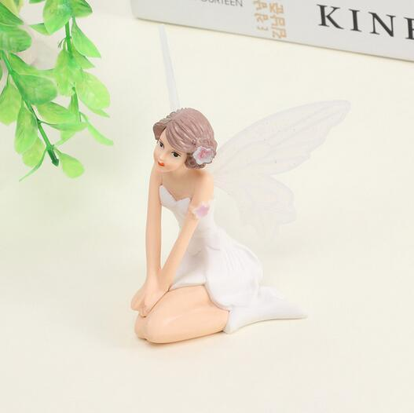 1PC Flying Flower Fairy Garden DIY Miniature White Angel Flower Ornaments Home Decoration Cartoon Gifts Desk Car Cake Decor 3pc
