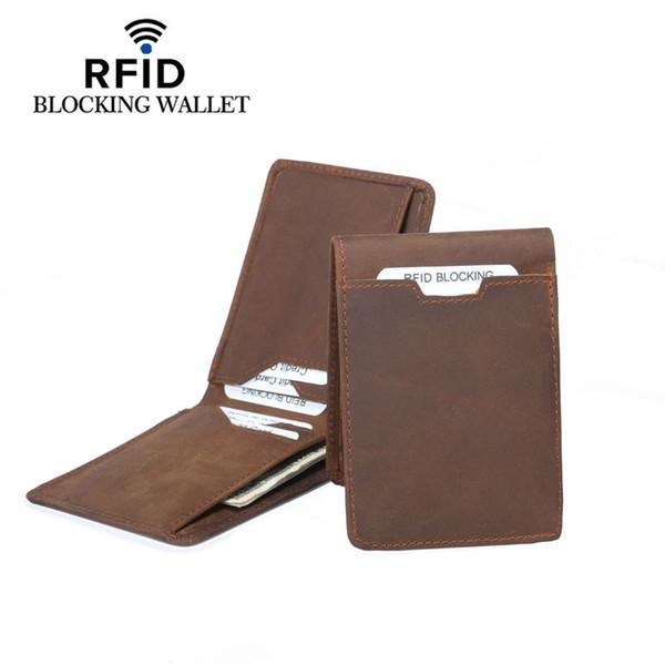 Vintage Designer Rfid Blocking Genuine Leather Men Slim Thin Mini Wallet Male Small Purse Money Clip Credit Card Dollar Price