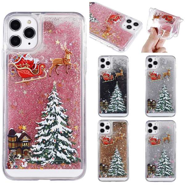 iPhone Para o Caso agradável dos desenhos animados Telefone 11 Pro XS xr max 6s 7 8 mais Natal Quicksand Giltter Capa para Samsung s10 S9 S8 além de nota 9 8 10 10 +