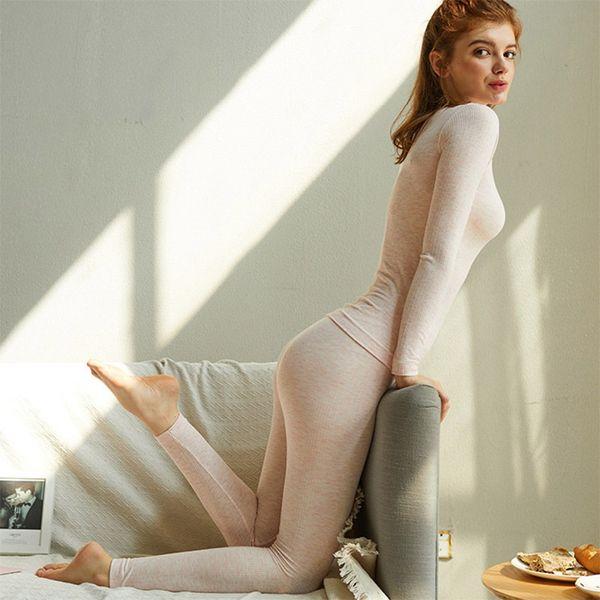 Cotton Long Johns Women 2019 Sexy Women Thermal Underwear Suit Body Slim Ladies Intimate Sets Female Pajamas Warm