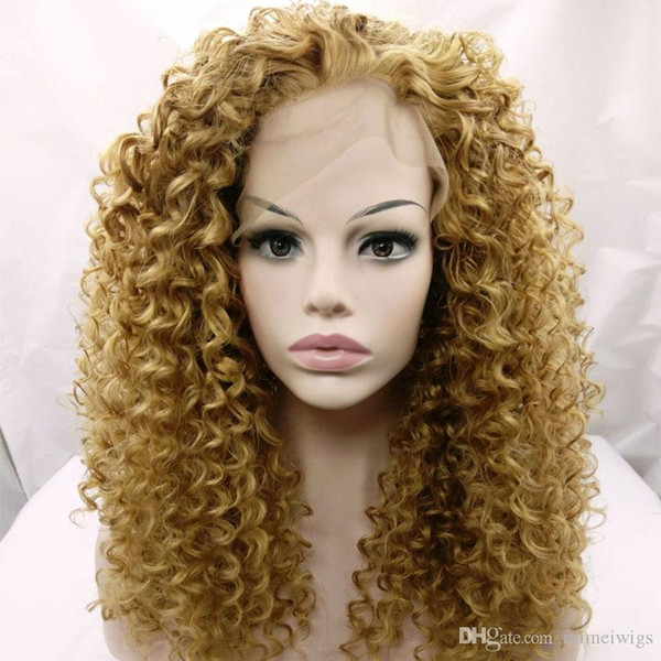 long kinky curly hair lace front wig for black woman 12-26inch blonde 27# 613# kinky curly synthetic wigs Heat Resistant