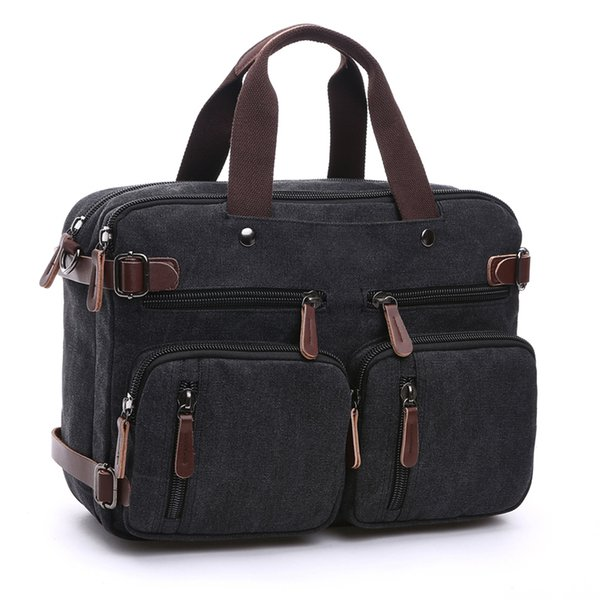 Men's Canvas Vintage Casual Briefcase Man Business Shoulder Messenger Bag Men Laptop Handbag Male Messenger Crossbody Travel Bag J190629