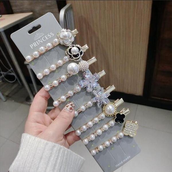 Luxury Korean jewelry zircon flower hairpin pearl net red edge clip Dongdae door hair accessories headdress duckbill clip rhinestone
