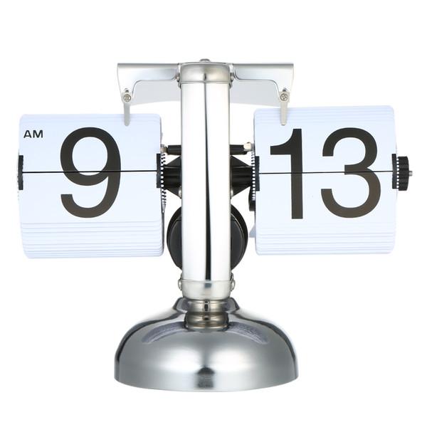 Reloj de mesa de pequeña escala Retro Flip Over Clock Flip de acero inoxidable Engranaje interno Operado Cuarzo Escritorio en casa Mesa Decoración