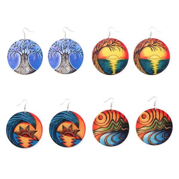 Trendy Printed Landscape Wooden Earrings Round Dangle Afro Colorful Wood Charm Pendant Ear Hook Eardrop Earring Women Jewelry Gifts Wedding