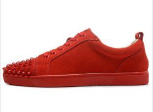 Alta Top Cravejado Spikes Casual Flats Sapatos de Luxo de Fundo Vermelho 2019 Novo Para Homens e Mulheres Amantes de Festa Sapatilhas Designer de Couro Genuíno
