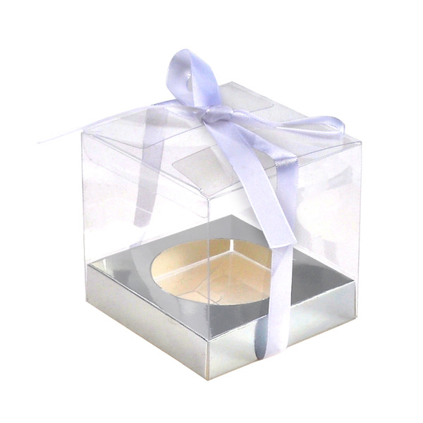 12Pcs/Lot Wedding Party Gift Box And Cake Packaging Wedidng Cupcake Box Clear PVC Transparent Cake Boxes With Base Inside