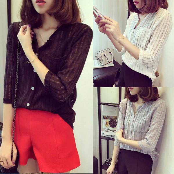 Sexy Femmes À Manches Longues Blanc Noir Blouse En Coton Coton Office Lady Féminine Printemps Blouses Chemises 3 Couleur S-3XL Plus La Taille