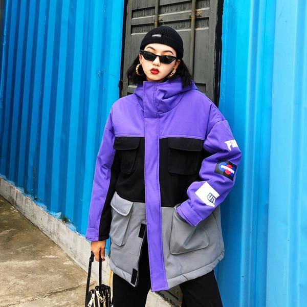 Ferramental BF casais com grandes tamanhos soltos de médio e longo grosso casaco de algodão com cor e resistência ao vento casaco de inverno