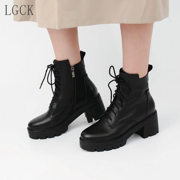 Artı boyutu 34-43 Sıcak Satış Sonbahar Kış Motosiklet Boots Lacing Diz Yüksek bot kadın Moda Kare Topuk Kadın Deri Punk Ayakkabı