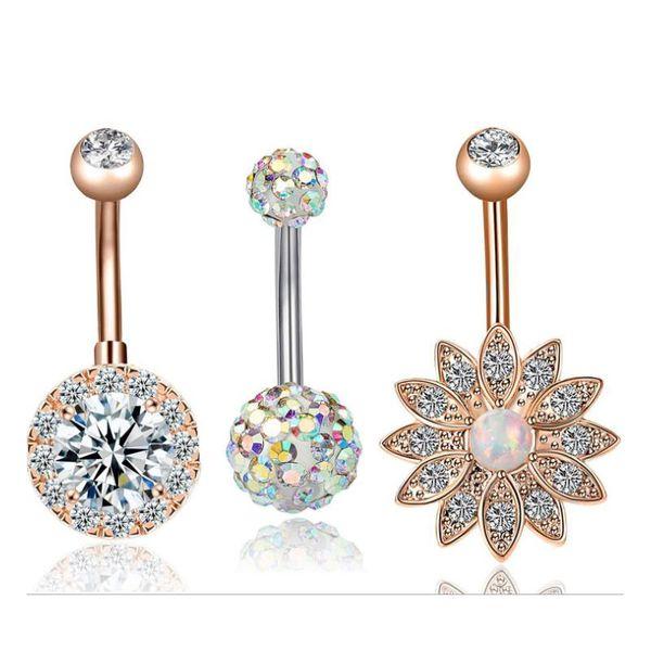3Pcs/set Lotus Flower Opal Belly Piercing Navel Piercing Navel Earring Gold Belly Sex Body Jewelry Pircing
