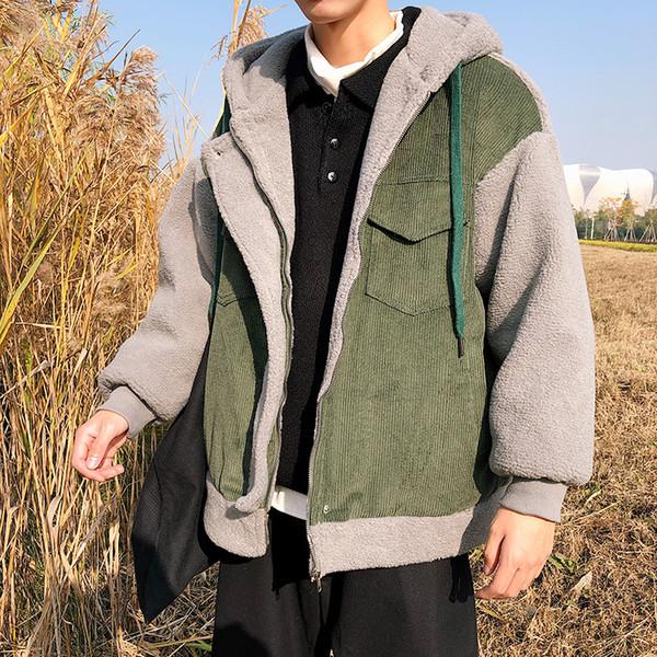 2018 Retro Stitching Color Matching Lamb Hair Plus Velvet Thick Loose Hooded Warm Coat Men Winter Coat Green / Orange M-2XL