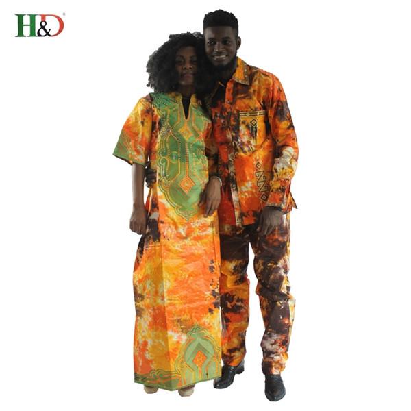 HD 2018 vêtements traditionnels africains robes pour les couples pour les hommes et les femmes bazin costume motif de broderie riche robe Dashiki