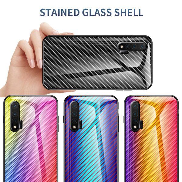 Красочные углеродного волокна Gradient закаленное стекло чехол для Huawei Nova 6 6 SE Honor V30 Mate 30 Pro P30 Pro P20 Mate20 Lite