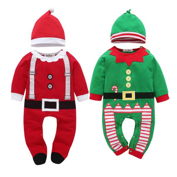 Bebê Footed Pajamas Criança bonito do feriado do Natal espessamento mangas compridas soltas Fit velo pagado Pijamas para o Natal
