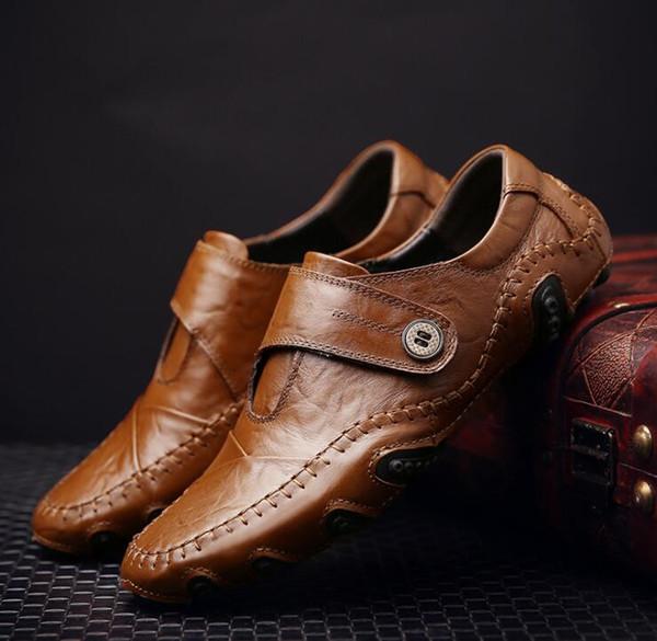 Printemps Automne Nouvelles Chaussures Décontractées Hommes Mocassins Chaussures En Cuir Véritable Slip on High Quality Men Mocassins Chaussure De Conduite Mâle Big EU Taille: 38-48