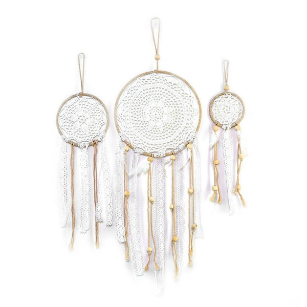3pcs/set Handmade Dream Catcher Indian Style Woven Wall Decoration White Dreamcatcher Wedding Party Hanging Decor Q190606