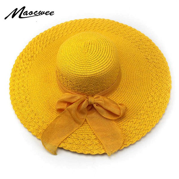 2018 Korean Fashion Vintage Hat Lady Summer Wide Along Bow Visor Sun Beach Straw Hat Mujer Cap Candy Colored Sun Hats for Women