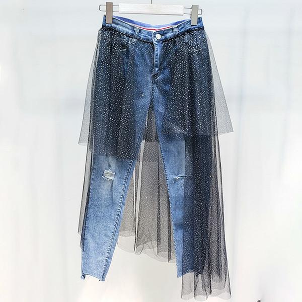 2019 Spring Summer Clothes For Women Silver Powder Paillette Irregular Gauze Split Joint Elastic Trousers Jeans R074