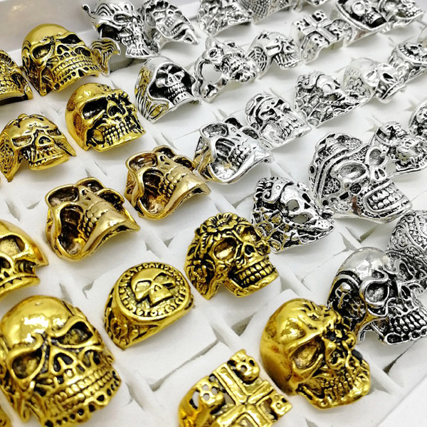 top popular Fashion Punk Style 30pcs lot Skull Rings Mix Silver Gold Skeleton Big Sizes Men's Women Metal Jewelry party Gift 2020