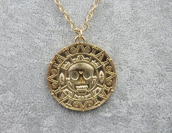 Caribbean Pirate Necklace Pendant Auniquestyle Fashion Jewelry Jack Sparrow Aztec Coin Medallion Necklace Vintage Gold Bronze Silver Gift