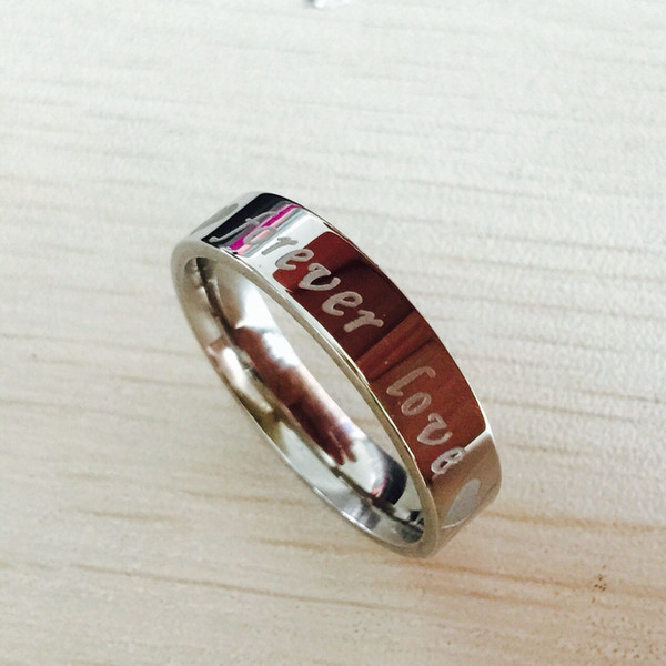 Valentine's Day gift 6mm 316L stainless steel Ring FOREVER LOVE promise engagement Rings for men women letter engrave bent rings