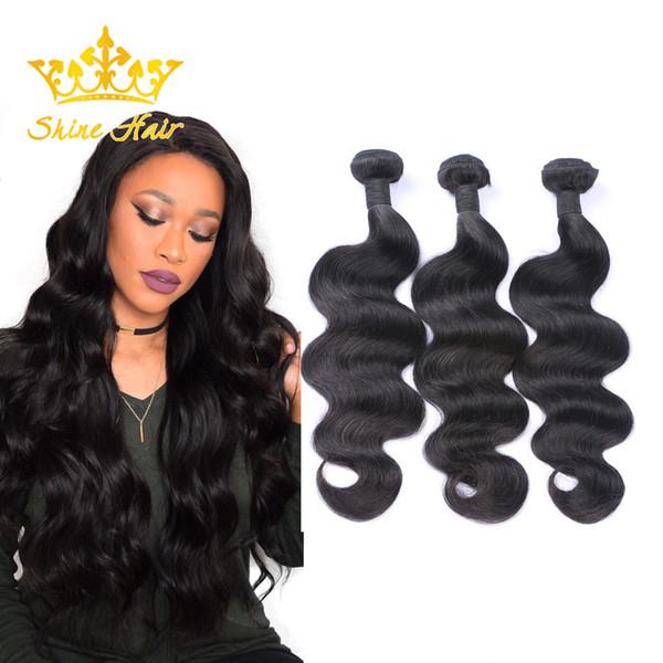 Shine Hair Indian 8-30 Inch 1B Body Wave Human Virgin Hair 3 Bundles Brazilian Hair Bundle Weft Natural Black Color