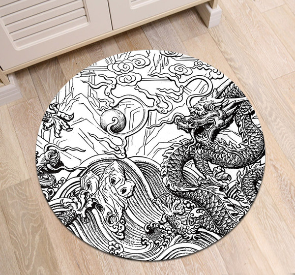 2019 Black White Floor Mat Chinese Dragon Sculpture Pattern Living Room Custom Area Rugs Bedroom Bedside Decoration Carpets Bath Mats From